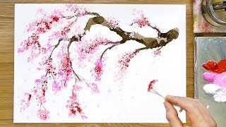 Cherry Blossom Tree Acrylic Painting Technique