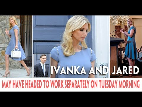 Ivanka Trump leaves her home wearing an elegant frock in the very same cornflower blue color