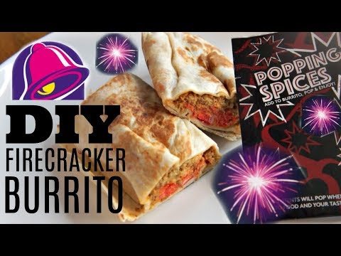 DIY Taco Bell FIRECRACKER BURRITO - spicy POPPING CANDY beef nacho cheese burrito