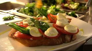 Our bocconcini, tomato and basil bruschetta