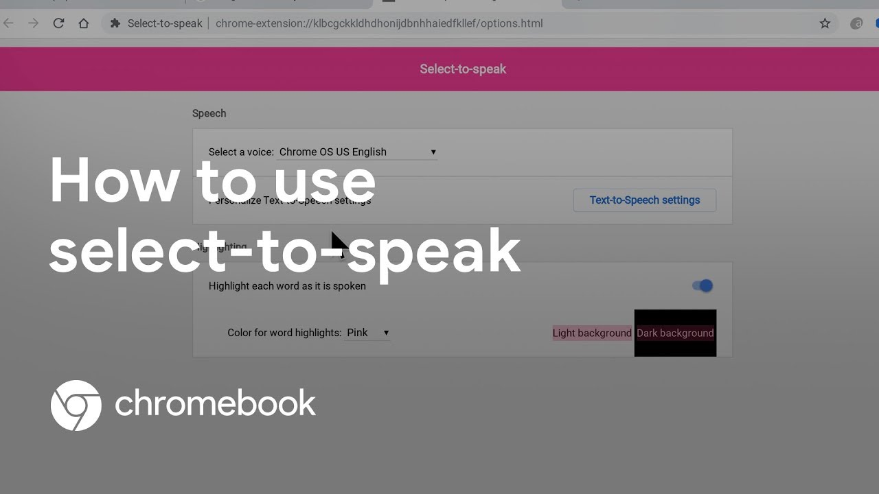 Learn how to use the built-in Chromebook accessibility feature Select-to-Speak to hear chosen text read aloud. In this video, we cover how to turn this feature on, the different ways to use it, and also how to customize the settings.