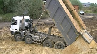Mercedes-Benz Actros MPIII 8x4 Meiller kipper unloading part 2