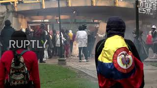 Colombia: Petrol bombs and tear gas fly as protesters clash with riot police in Bogota