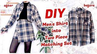 Refashion DIY Mens Shirt Into Two Piece Matching Set / ファッション 古着リメイク / 옷리폼 / COSTURAㅣmadebyaya