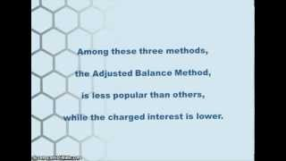 Three methods of finance charge calculated in credit card?