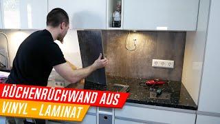 Küchenrückwand aus Laminat oder Vinyl herstellen, Spritzschutz Küche, Backsplash DIY