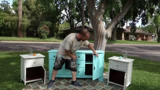 How To Redo Furniture: Blue Dresser And Two Nightstands