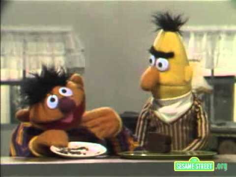 Classic Sesame Street Ernie And Bert And A Piece of Cake