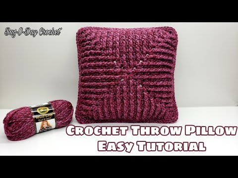 How To Crochet An Easy Throw Pillow | Raspberry Ripple | Bag-o-Day Crochet Tutorial #588
