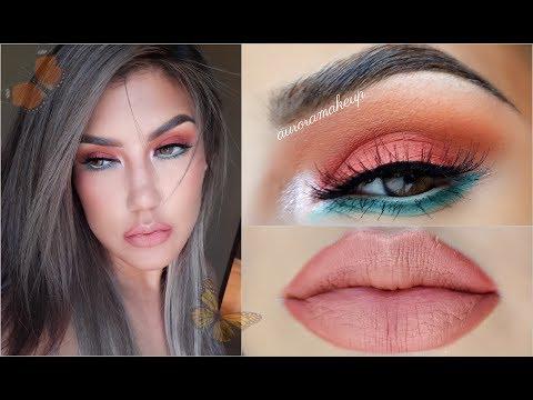 Maquillaje CORAL y AQUA 🏵️💦/ Sorteo internacional / makeup tutorial | auroramakeup