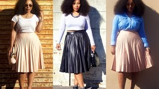 HOW TO STYLE PLEATED SKIRTS 4 WAYS | OUTFIT IDEAS (plus Size Friendly)