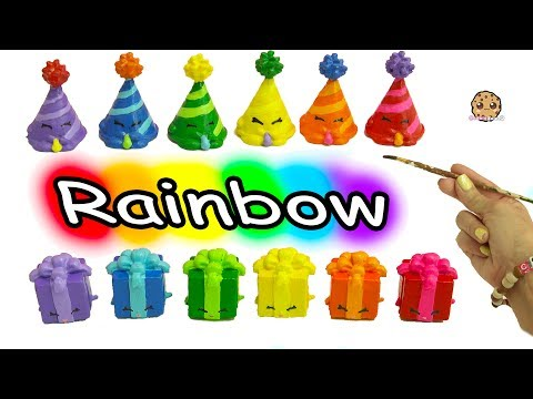 DIY Painting Colorful Rainbow Color Shopkins Party Hat + Present Do It Yourself Craft