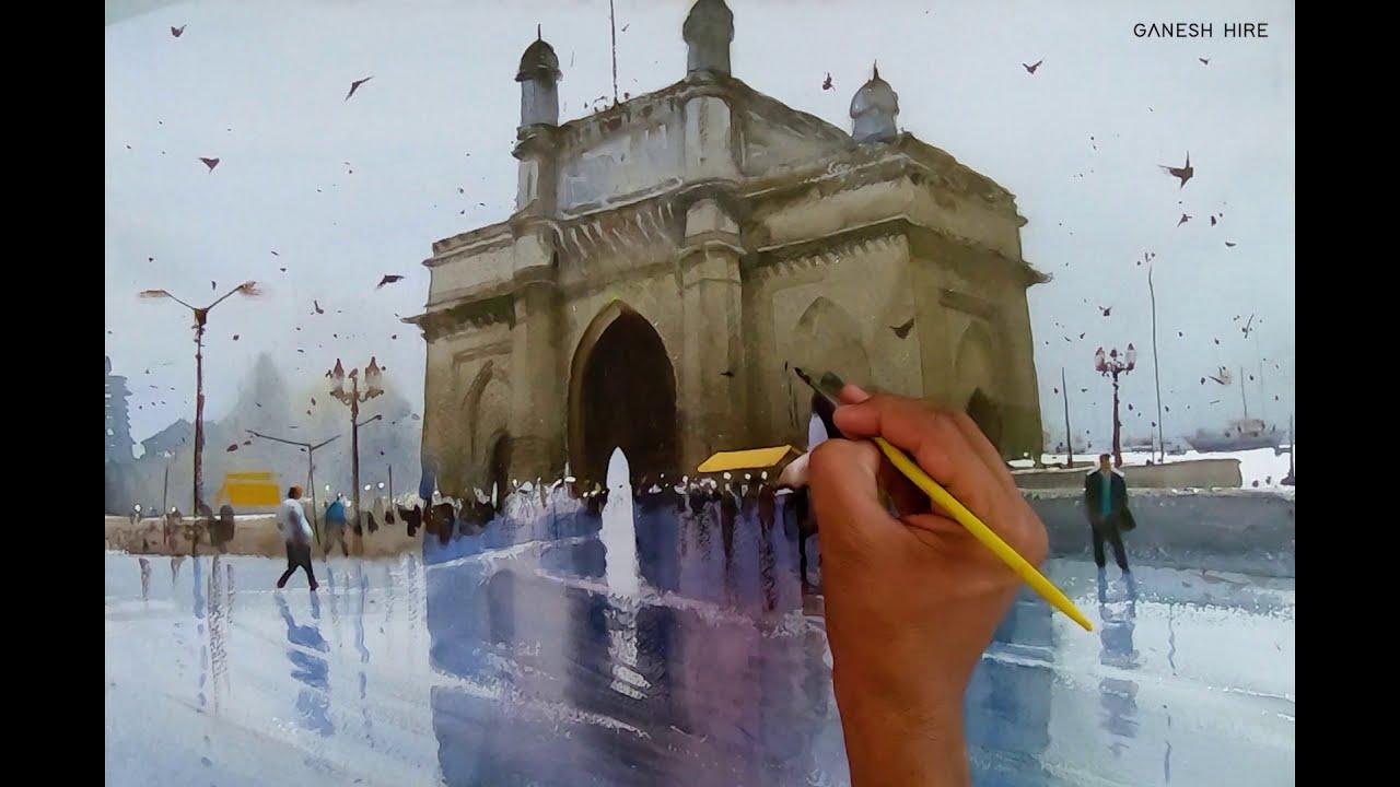 watercolor landscape painting gateway of indian rainy cityscape by ganesh hire fine art studio