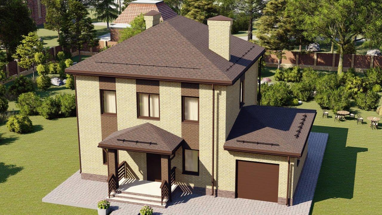 Проект кирпичного дома с гаражом на 1 авто 140 м2