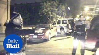 Car backs out of garage and Chicago police fill it with bullet holes - Daily Mail