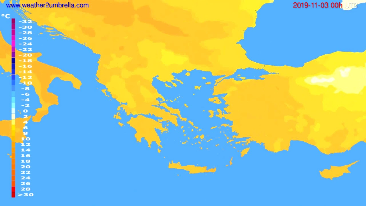 Temperature forecast Greece // modelrun: 00h UTC 2019-11-02