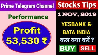 Prime Telegram Channel Performance (Profit: 53,530) | Intraday stock For Tomorrow (01-NOV-2019)