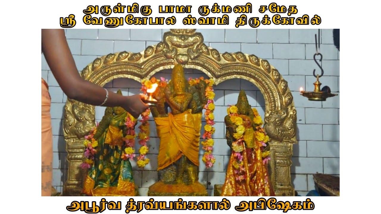 live-apoorva-dravayangal-abhishekam-arulmigu-bama-rugmini-samedha-sri-venugopal-swami-thiruvarur
