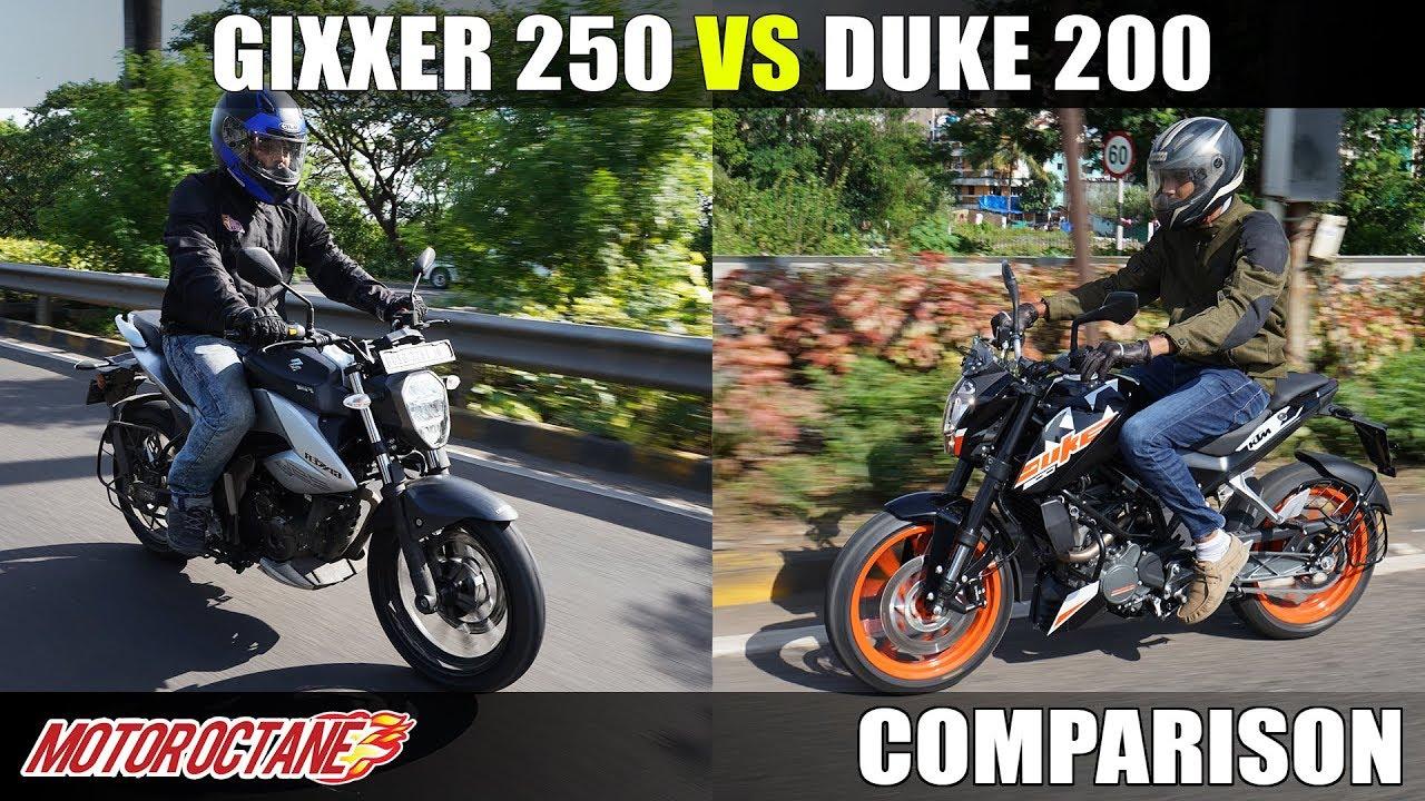 Motoroctane Youtube Video - Suzuki Gixxer 250 vs KTM Duke 200 | Comparison | MotorOctane