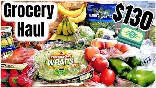 2 WEEK GROCERY HAUL ON A BUDGET   $130 WORTH OF GROCERIES   FAMILY OF 4