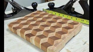 3D Cube End Grain Cutting Board
