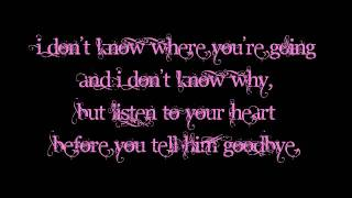 Dht- Listen to your Heart Piano Version Lyrics