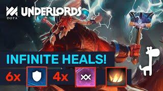 UNKILLABLE HEALS BUILD! Ace Of 4 Warlocks Warriors! | Dota Underlords