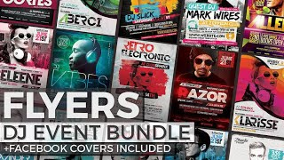Professional Flyer Templates: 12 DJ Event Flyers + FB Covers