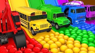 Learn Colors with Street Vehicle VS PACMAN Magic Water Slide Color Shape Pretend Play for Kid