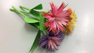 How to Make Aster Flower with Paper | Making Paper Flowers Step by Step | DIY-Paper Crafts