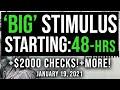 'BIG' STIMULUS! STARTING THIS WEEK! $2000 STIMULUS CHECK UPDATE & STIMULUS PACKAGE 01/19/2021