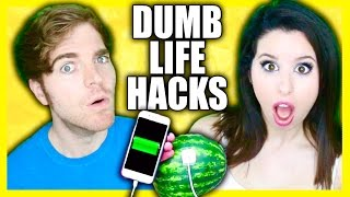 TRYING DUMB LIFE HACKS! (with Glitterforever17)