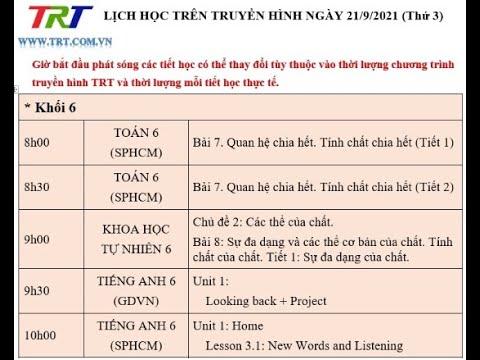 Lớp 6: Toán (2 tiết); KHTN; Tiếng Anh (2 tiết) / Dạy học trên truyền hình HueTV ngày 21/9/2021