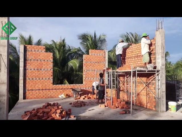 Thi công thực tế – biệt thự nhà vườn 2 tầng tại Vĩnh long