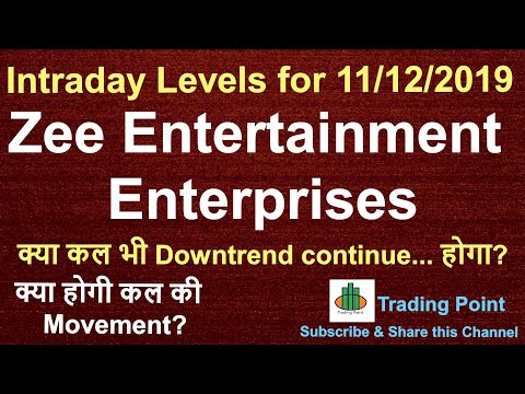 Zee Entertainment share latest updates. ZEEL share Intraday levels and Tips for 11/12/2019.