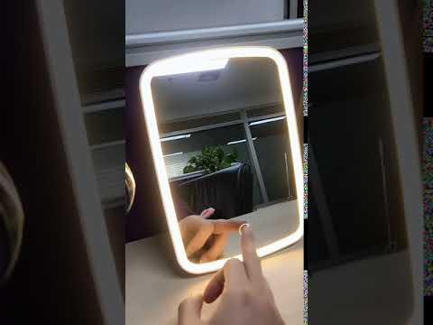 Зеркало для макияжа с холодной/теплой подсветкой и аккумулятором  LED Makeup Mirror белое (E-27778) Video #1