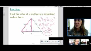 7 Pythagorean Theorem With Radicals K 2016
