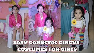 EASY DIY NO SEW CARNIVAL CIRCUS GIRLS KIDS COSTUMES For HALLOWEEN And BIRTHDAYS