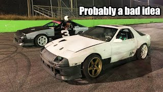 Oval track Racing with our Drift cars! (things get hairy)