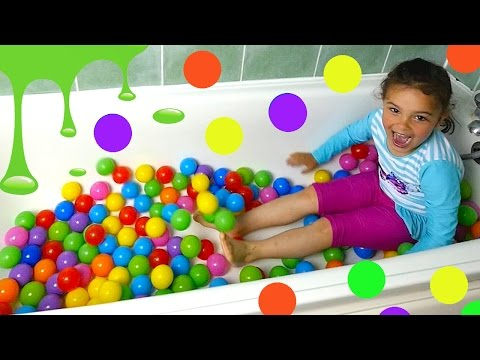 Slime Bath Pool FUN with Disney Elsa Peppa Pig Baby Alive