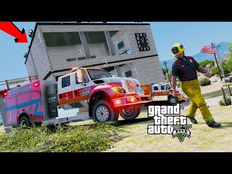 GTA 5 Firefighter Mod Fighting Fires With New Spartan Engine, Ladder