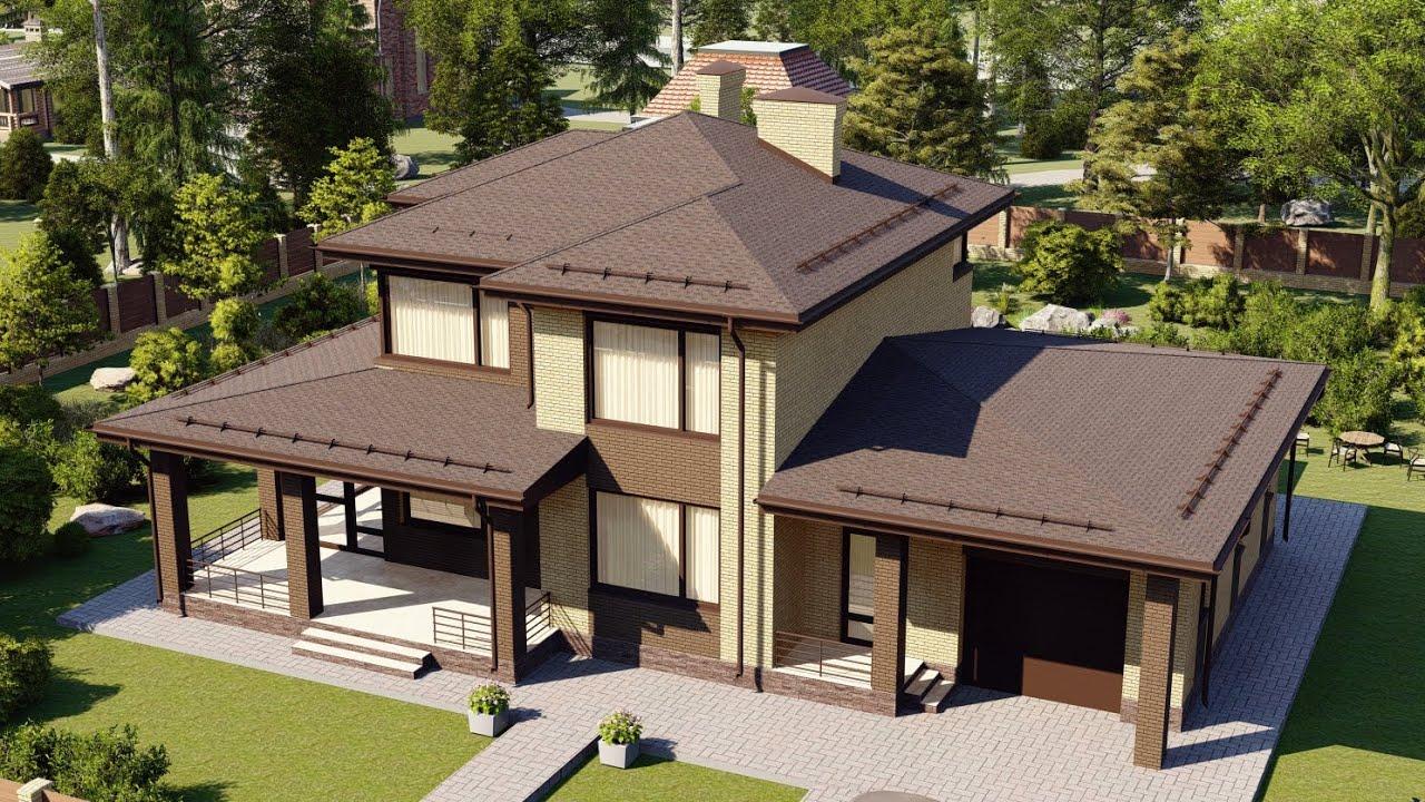 Проект коттеджа 2 этажа с огромной террасой и гаражом 228 м2