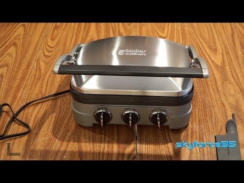 , Cuisinart GR-4N 5-in-1 Griddler, Silver, Black Dials