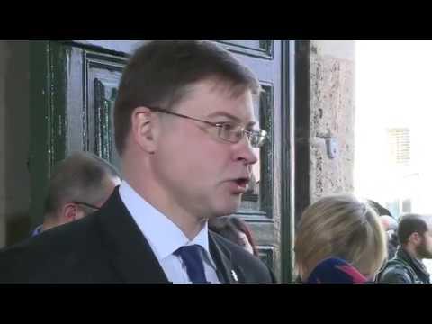 Δηλώσεις του Βάλντις Ντομπρόβσκις κατά την άφιξή του στο Eurogroup