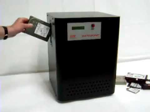 Video of the Verity Datagone Automatic Hard Drive and Backup Tape Degausser Shredder