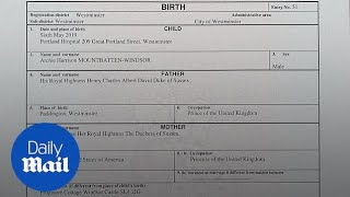 Birth certificate reveals Archie was born in private hospital