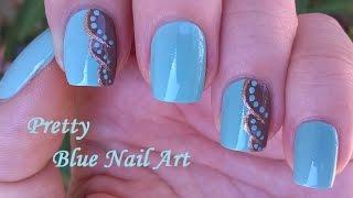 Light Blue NAIL ART In Brown & Gold!  DIY Elegant Dot Nails Design