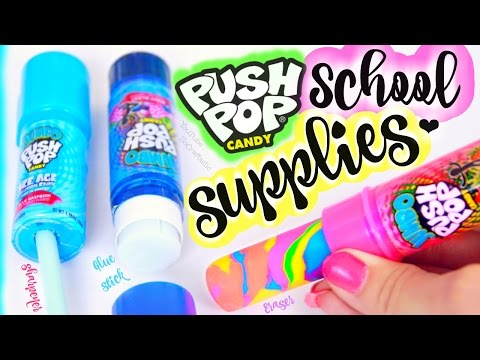 Download DIY Push Pop School Supplies - Eraser, Pencil Sharpener, & Glue Stick How To for Back-To-School HD Mp4 3GP Video and MP3