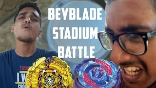 BEYBLADE BATTLE IN REAL BEYBLADE STADIUM