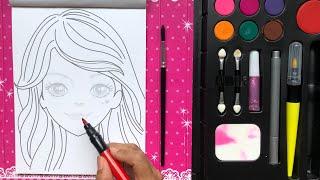 Make up book korean doll P2 with lipstick, eyeliner, nail